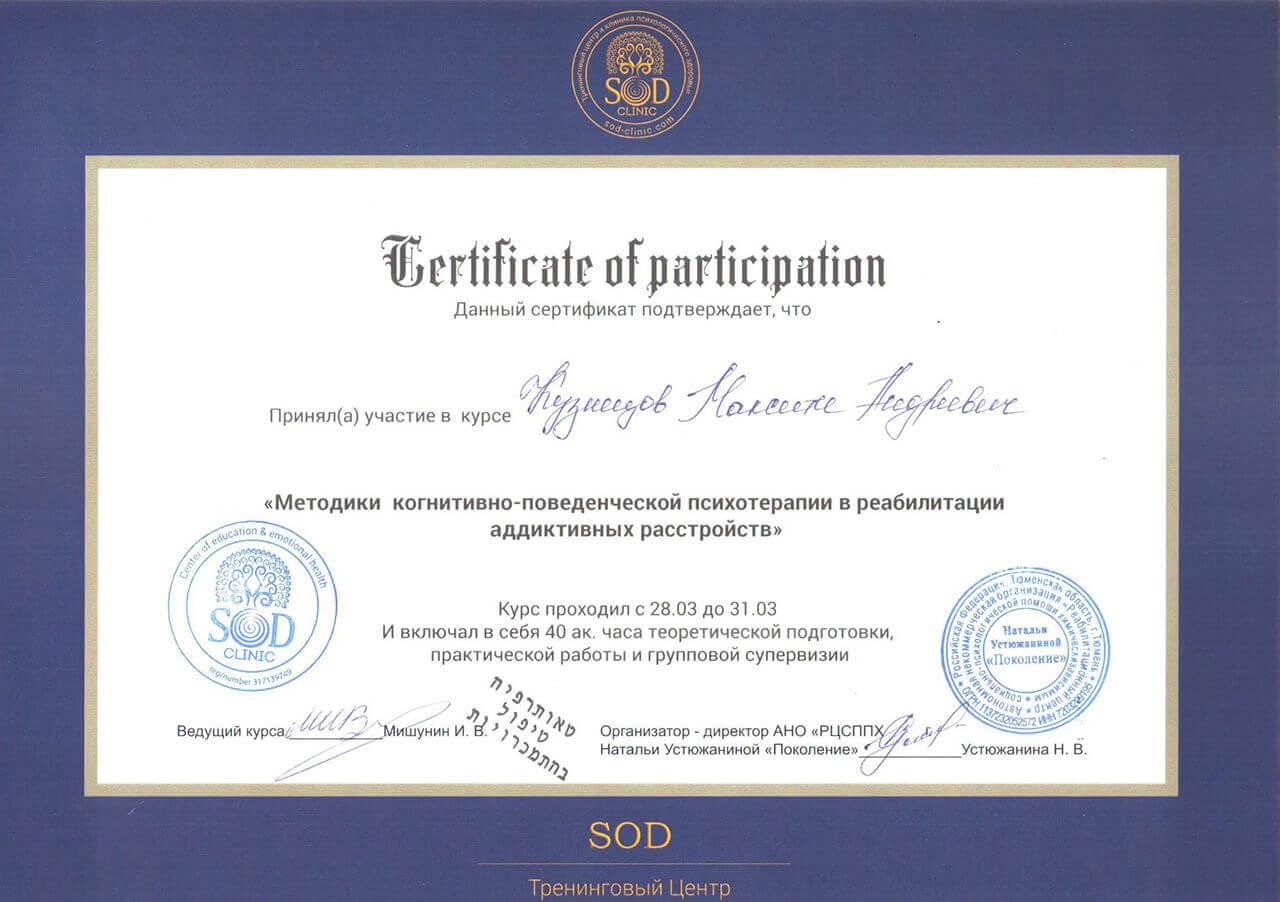 Сертификат Кузнецова М. А. - прохождение курса Методики когнетивно-поведенченской психотерапии в реабилитации адаптивных устройст