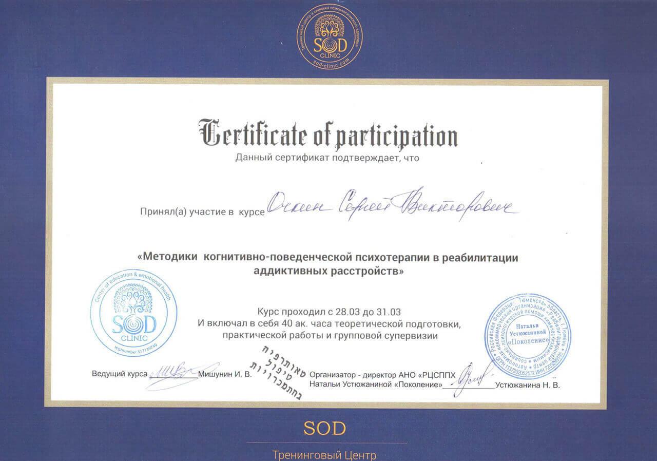 Сертификат Очкина С. В. - прохождение курса Методики когнетивно-поведенченской психотерапии в реабилитации адаптивных устройст