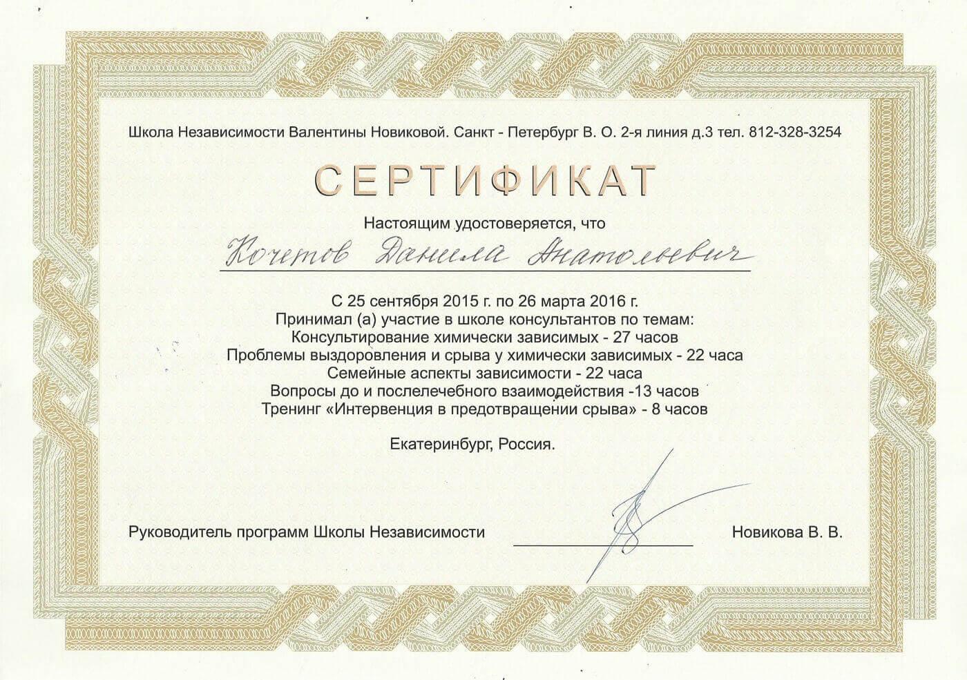 Сертификат Кочетова Д. А. - принял участие в школе консультантов
