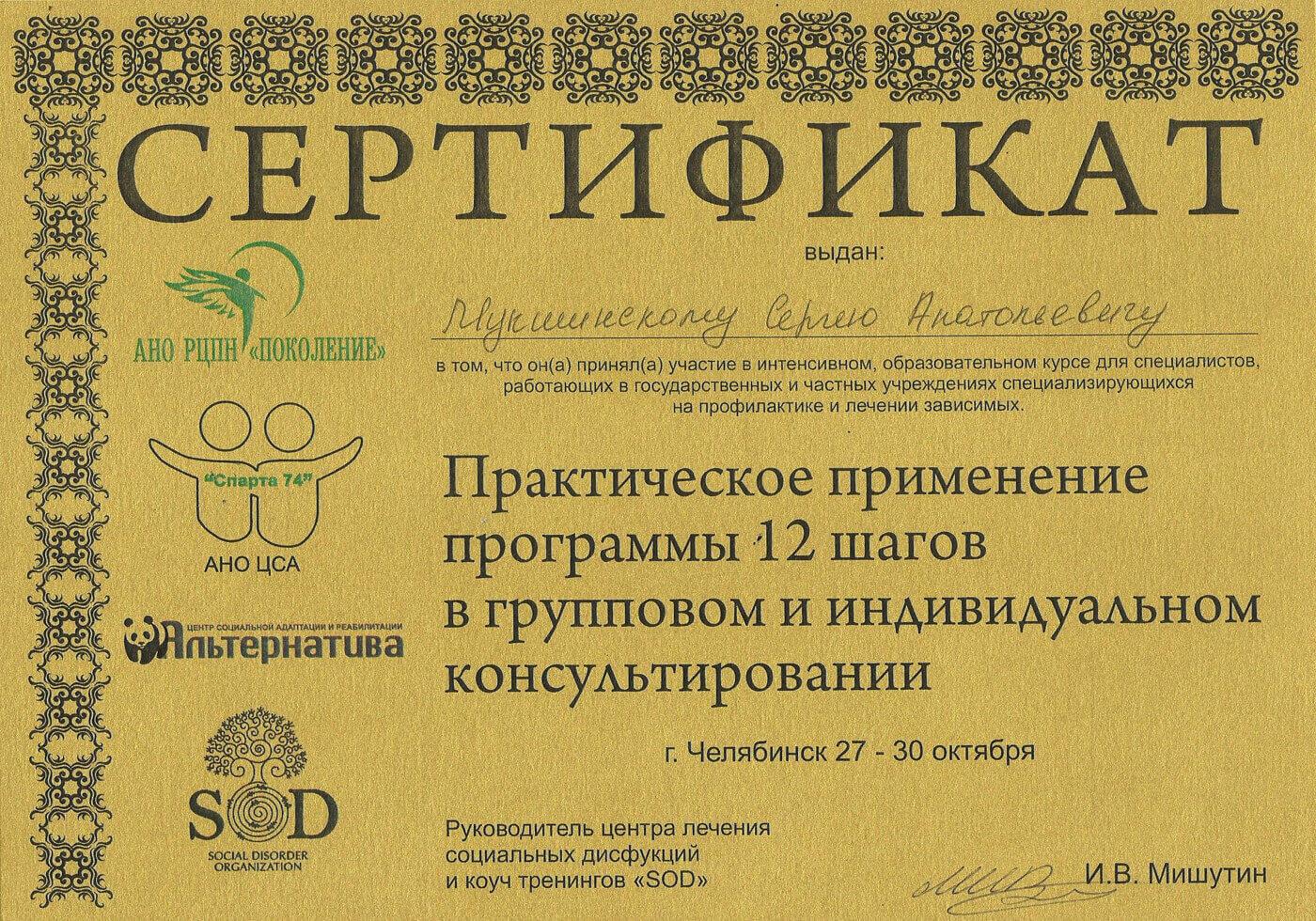 Сертификат Мукшинскому С. А. - практическое применение программы 12 шагов