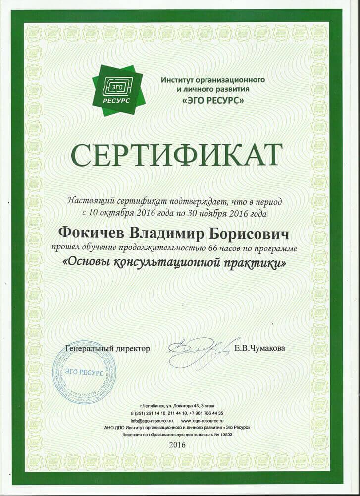 Сертификат Фокичеву В. Б. - прошел обучение основы консультационной практики